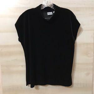 Chico's Size 3 Short Sleeve Black Velvet Blouse